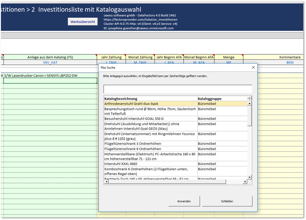 Transparente Investitionsplanung durch Parametertabellen zum Investitionsgüterkatalog in SX DataFactory